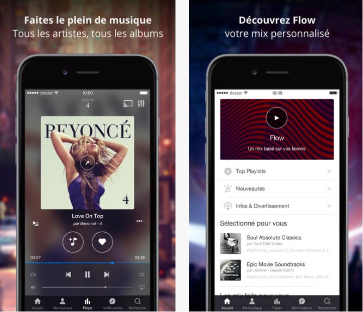 Deezer musique musical streaming application iphone