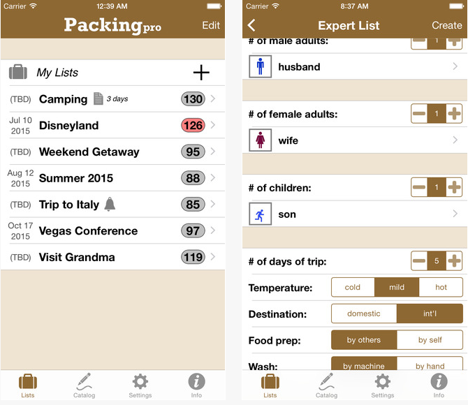 Packing Pro valise voyage liste application