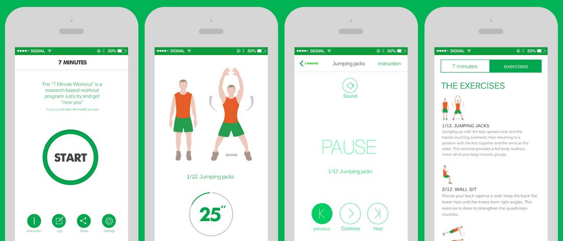 7 minutes workout fitness santé sport app