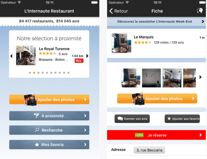 Le Guide Restaurants L'internaute manger application tp=op meilleur