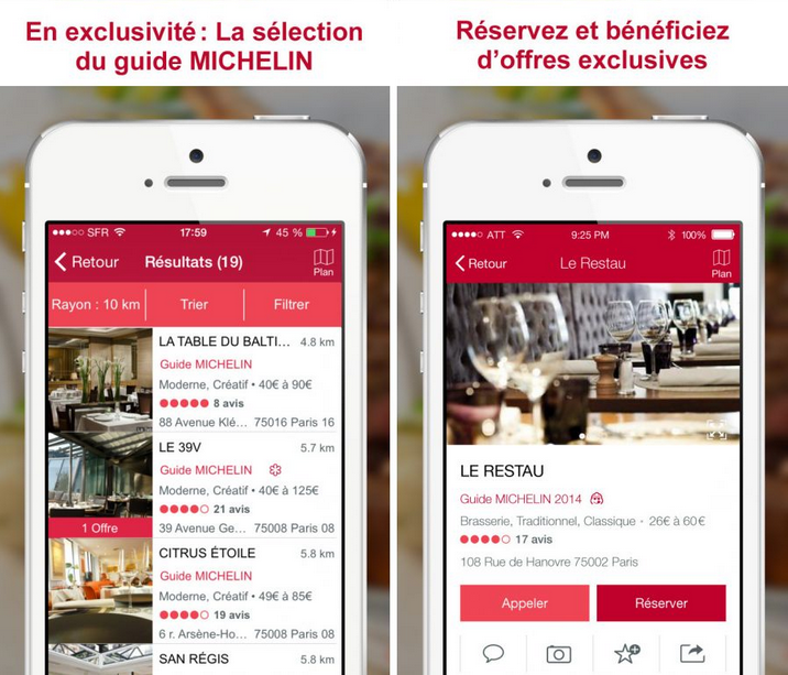Le Guide Michelin application étoiles adresse restaurant manger