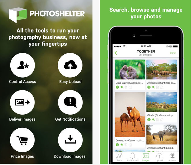 Photoshelter stocker photos synchroniser iPhone