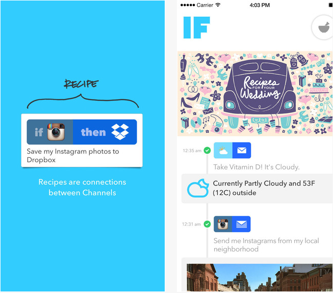 IF by IFTTT travailler application iphone app