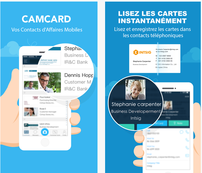 camcard travail carte visite iphone