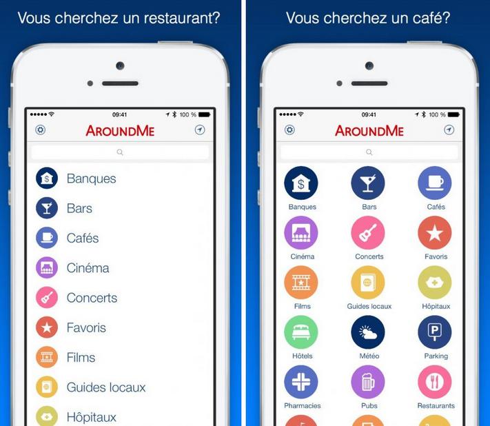 AroundMe appli meilleure top manger restaurant geolocalisation