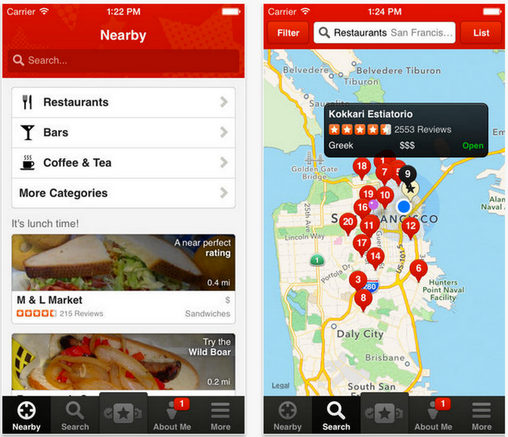 Yelp application restaurant