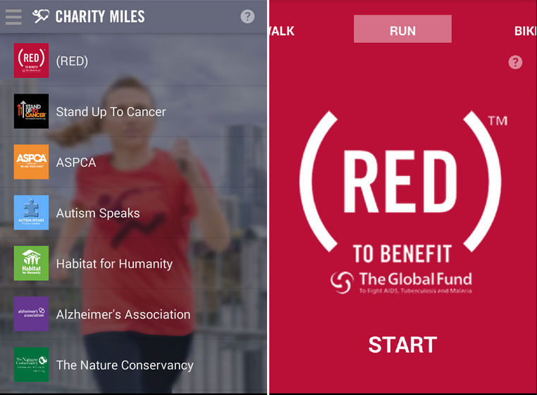 charity miles gratuit sport motivation