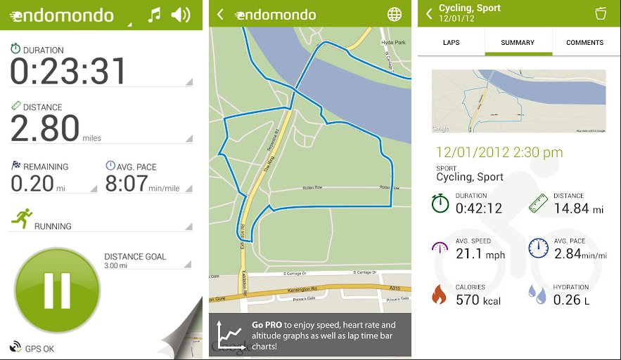 endomondo course application iphone