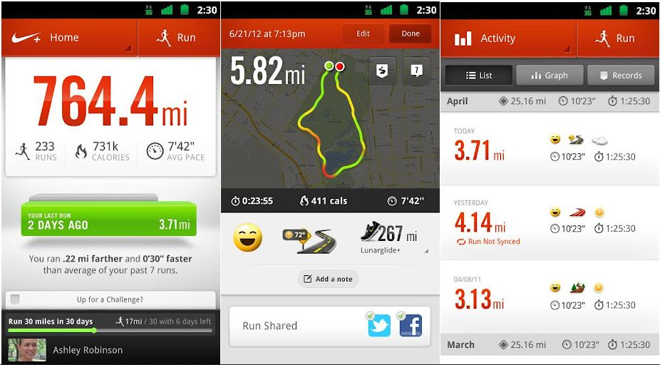 nike + running application sport