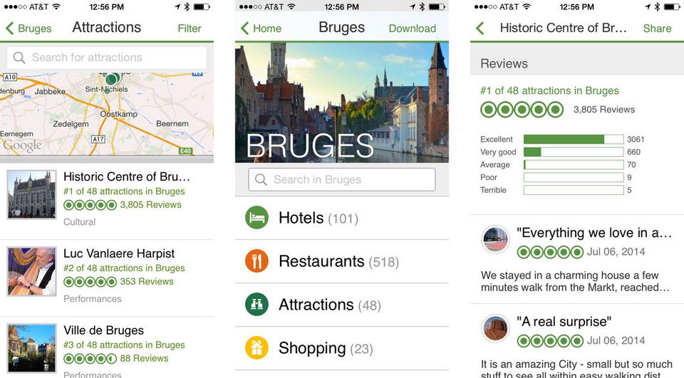 Tripadvisor application voyage iphone