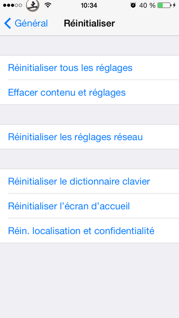 réinitialiser option clavier dictionnaire iphone